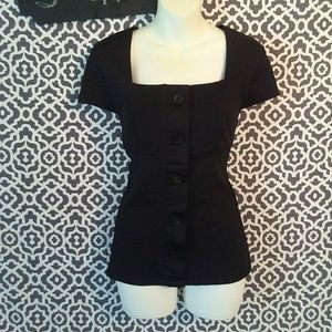 New Direction Petites black button blouse size PXL